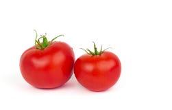 与在白色背景隔绝的绿色叶子的新鲜的蕃茄 库存照片