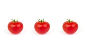与在白色背景隔绝的绿色叶子的新鲜的蕃茄 免版税库存照片