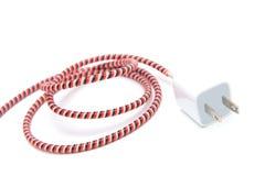 与在白色背景隔绝的usb缆绳的适配器充电器 免版税库存图片