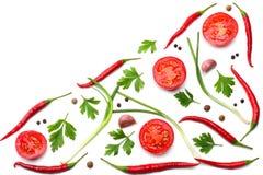 与在白色背景顶视图和切的蕃茄混合炽热辣椒隔绝的荷兰芹 库存照片