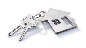 与在白色背景isoloated的钥匙的Keychain 向量例证