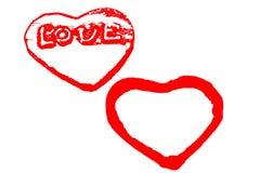 与在白色隔绝的红色心脏的情人节模板 图库摄影