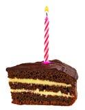 与在白色隔绝的一个蜡烛的生日杯形蛋糕 免版税库存图片