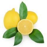 与在白色隔绝的叶子的柠檬 免版税图库摄影