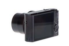 与在白色隔绝的开放透镜的数字式袖珍相机 库存照片