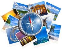 与在白色隔绝的指南针的旅行的照片拼贴画 库存图片