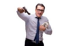 与在白色隔绝的枪的年轻商人 库存照片