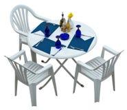 与在白色隔绝的椅子的塑料桌 库存图片