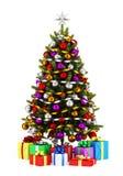 与在白色隔绝的礼物盒的装饰的圣诞树 库存照片