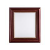 与在白色隔绝的空白的帆布的经典木画框 免版税库存照片