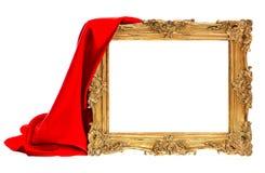 与在白色隔绝的红色丝绸装饰的金黄古色古香的框架 免版税库存图片