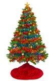 与在白色隔绝的红色裙子的圣诞树 库存照片