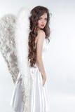 与在白色隔绝的翼的美好的深色的女孩天使模型 免版税库存图片