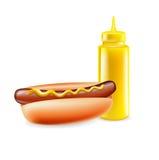 与在白色隔绝的芥末瓶的热狗 库存图片