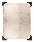 与在白色隔绝的角落的葡萄酒照片 变老的纸张 库存图片