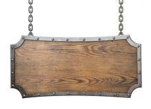 与在白色隔绝的金属框架的木标志 免版税库存图片