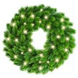 与在白色隔绝的金黄光装饰的圣诞节花圈 免版税库存照片