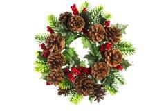 与在白色隔绝的锥体装饰的圣诞节花圈 免版税库存图片