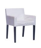 与在白色隔绝的黑腿的白色椅子 免版税库存照片