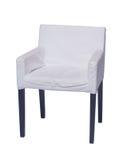 与在白色隔绝的黑腿的白色椅子 库存照片