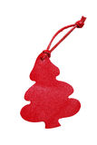 与在白色b隔绝的皮革绳子的红色树皮革价牌 库存图片