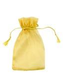 与在白色backgro隔绝的钱袋口上的绳子的混合纤维袋子 库存图片