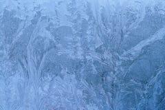 与在窗口结冰的冰的纹理 库存照片