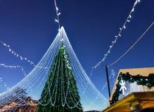 与在立陶宛的维尔纽斯安装的装饰的发光的圣诞树 库存照片