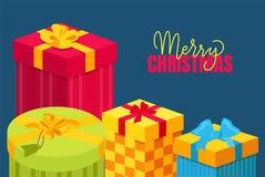 与在箱子包装的礼物的圣诞快乐明信片 库存例证