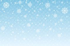 与在蓝色透明背景隔绝的风格化雪花的落的雪 圣诞节装饰新年度 向量 向量例证