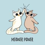 与在蓝色backgr隔绝的猫的Meower力量逗人喜爱的例证 库存例证