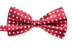 与在被隔绝的白色圆点的典雅的红色蝶形领结 免版税库存图片