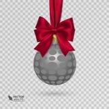 与在透明背景隔绝的红色丝带的现实圣诞节球 免版税库存照片