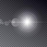 与在黑暗的背景隔绝的bokeh的透明传染媒介太阳光 在不可思议的圆环的发光的星 晒裂 向量例证
