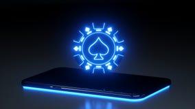 与在黑背景隔绝的发光的霓虹灯的赌博娱乐场赌博的芯片概念- 3D例证 向量例证