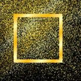 与在黑背景隔绝的阴影的金框架,与砂金欢乐新年,圣诞节框架 闪烁金子 向量 皇族释放例证