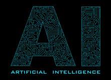 与在黑色后面隔绝的蓝色电路的人工智能 库存例证