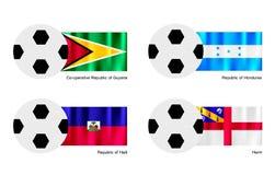 与圭亚那、洪都拉斯、海地和赫姆方碑旗子的足球 免版税库存照片