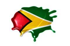 与圭亚那的国旗的污点 免版税库存图片