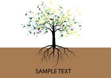 与地下根水彩设计,传染媒介的树 库存照片