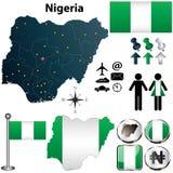 与地区的尼日利亚地图 免版税库存照片