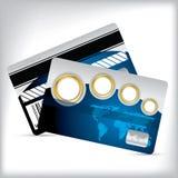 与地图和金戒指的忠诚卡片 免版税库存照片