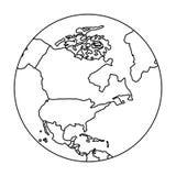 与地图的地球行星 向量例证