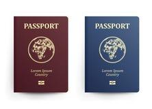 与地图的护照 闹事 可实现的向量例证 与地球的红色和蓝色护照 国际 库存例证