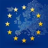 与地图的欧盟旗子 库存照片
