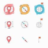 与地图,指南针尖,与地球创造性的套的旗子的检验站标志概念 皇族释放例证