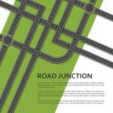 与地方的复杂公路交叉点文本的 顶视图 免版税图库摄影