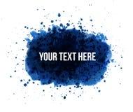与地方的大蓝色难看的东西飞溅您的文本的白色背景的 库存照片