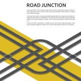 与地方的等量复杂公路交叉点文本的 顶视图 库存照片