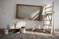 与地方的艺术性的家庭修理的概念构成商标的 库存图片